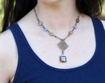 Czech Glass and Antique Brass Plated Necklace - FJ 75