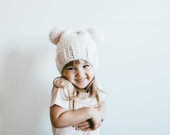 Hand Knit DOUBLE POM POM Toque // Pom Pom Hat //  Mommy & Me //  Baby Shower // Baby Gift //  Kids Toque // Adult Toque // Toddler Toque //