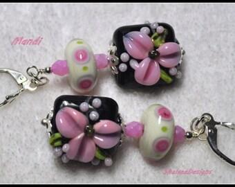 Pink Black and White Earrings,Lampwork Earrings,Flower Earrings,Dangle Earrings,Colorful Earrings,Floral Earrings - MANDI
