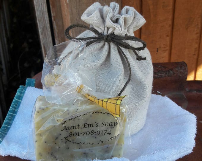 2 all natural handmade soap bars w/ bath mitt and drawstring bag