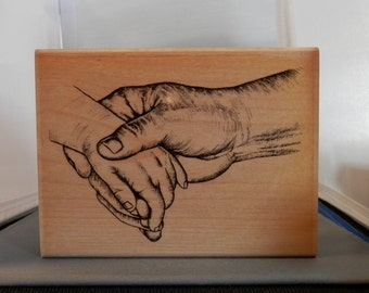 Hold Hand Rubber Stamp