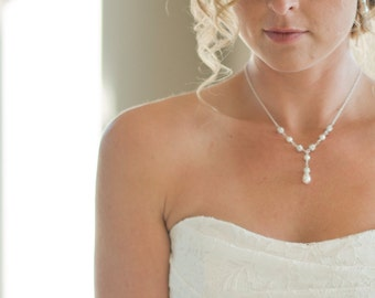Bridal Necklace Pearl, Wedding Necklace, Crystal and Pearl Y Necklace, Bridal Jewelry, Drop Pearl Necklace