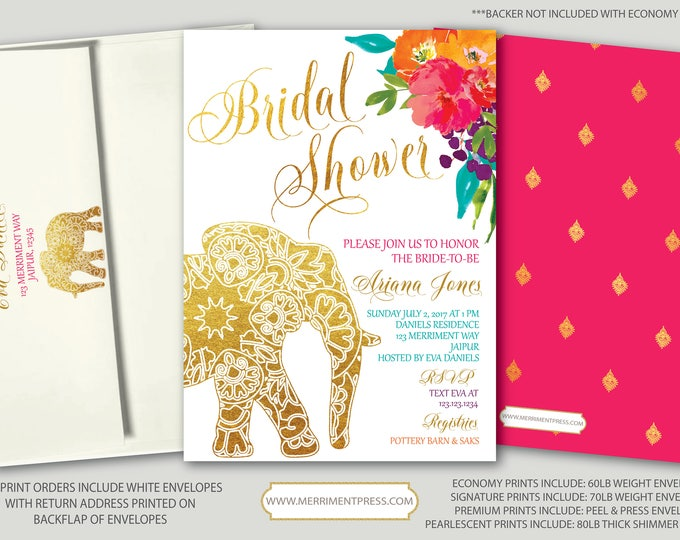 Indian themed Bridal Shower Invitation / Bollywood / Elephant / Paisley / Gold / Floral / Pink / Teal / Orange / Mehndi / JAIPUR COLLECTION