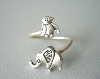 silver penguin elephant ring wrap style, adjustable ring, animal ring, silver ring, statement ring