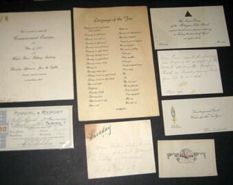 8 Pieces Antique Ephemera - Notes, Invitations, Report Card, etc.