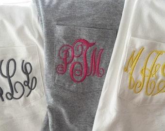 Monogrammed LONG Sleeve Pocket Tee/ Monogramme Pocket T-Shirt/Monogrammed Pocket T-Shirt/ Monogrammed Pocket T-Shirt/ Monogram Tee