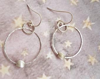 Circle bead earrings | silver hoop earrings | bead and hoop | silver bead | circle earrings