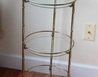 Vintage Mid Century Modern, Hollywood Regency, 3 Tier Glass Plant Stand, Plant Holder, Side Table, Tower, Brass, Gold Metal Frame