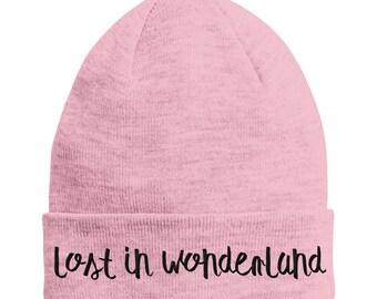Lost In Wonderland DUSTY PINK Beanie Hat Black Text STPH18