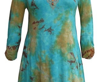Nature Art Tunic for Women Tie Dye Sequined Beaded Jewel Embellished Top