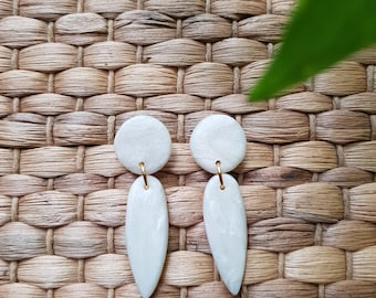 Pearl pattern tear drop earrings made with clay.