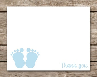 Baby Feet Thank You Cards, Baby Shower Thank You, Boy Baby Shower Thank You, INSTANT DOWNLOAD, PRINTABLE