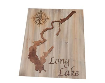 Long Lake Wood Map Sign