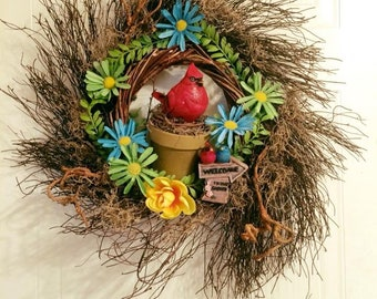 "22"" Red Cardinal Nest of Luv Garden Twig Wreath"