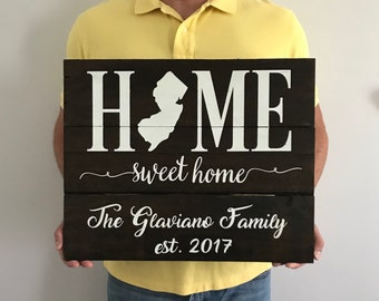 Home Sweet Home/Home Sweet Home Sign/New Jersey/NJ Home Sign/