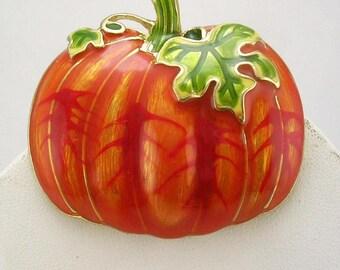"""Joan Rivers Enameled Pumpkin Brooch   1 3/4"""""""