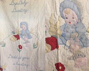 35% off Sale Darling vintage baby quilt with small child playing with bunnies handmade farmhouse baby showr gift keepsake