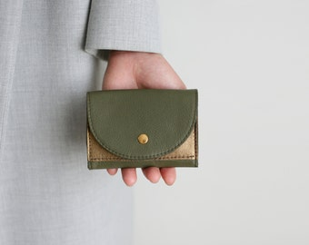 Small Wallet Oliv and Bronze Leather,  flat womens wallet, small leather purse
