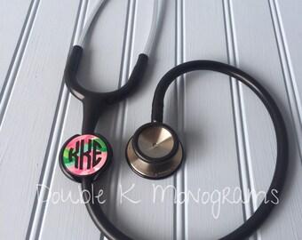 Lilly Pulitzer Monogrammed Stethoscope ID Tag / Stethoscope Name Tag Monogram Custom Name / Nursing, Med School, Vet Graduation Gift