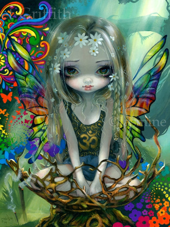 Paisley Hippie Surreal Flower Child Fairy Art Print By Jasmine