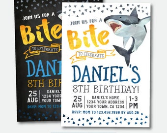 Shark Invitation, Shark Birthday Invitation, Shark Party, Pool Party, Personalized Digital Invitations, 2 options