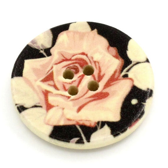 BBR30278 - 6 round buttons with colorful wooden 30 mm