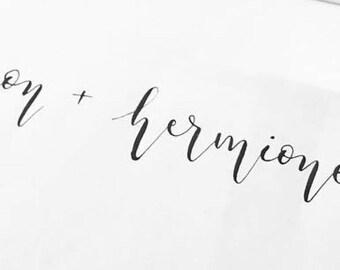 Custom Calligraphy Lovers Print (non-metallic ink)