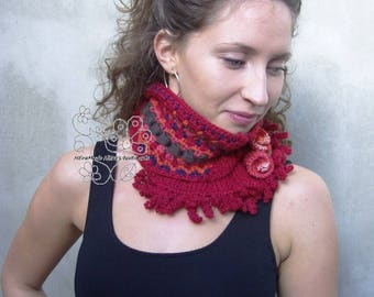 Red knit scarf red infinity scarf bohemian fashion wool knit scarf gift for her