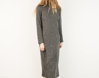 VINTAGE METALLIC KNIT Turtleneck Oversized Maxi Dress / S / hipster dress black silver shiny long dress with long sleeves