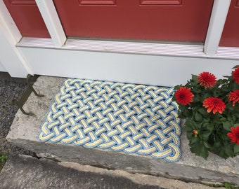 Maine rope rug, Upcycled lobster rope, Maine made, Nautical mat, Blue and yellow mat, Hand woven by WharfWarp