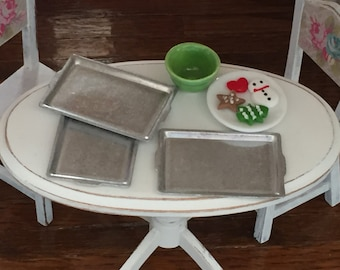 Miniature Aluminum Baking Pans, Cookie Sheets 3pcs, Dollhouse Miniature, 1:12 Scale, Dollhouse Kitchen Accessory, Miniature Baking