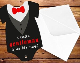 Tuxedo Baby Shower Invitation, Bow Tie and Collar Invitation, Little Gentleman Baby Shower, Printed Invitation, Baby Bodysuit Invitations