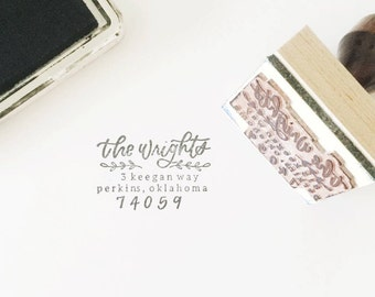 Custom Return Address Stamp, Custom Stamp, Rubber Stamp, Hand Lettered, Calligraphy Stamp, Handwritten Stamp
