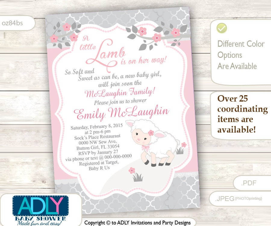 Pink Grey Little Lamb Girl Baby Shower Invitation for a New