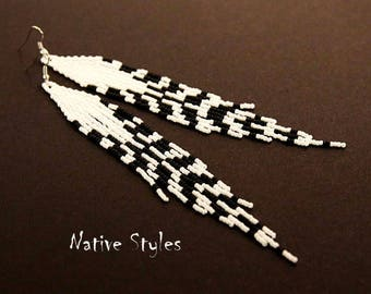"6""Native Seed Bead Feather Earrings~Native American Style~Long Shoulder Dusters White and Black~Long Seed Bead Earrings~Native Tribal Beaded"