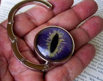 Dragon Eye Hanger (H609), Purse or Bag Hook, Hand Painted Glass Eye, Purple Gold Sparkle