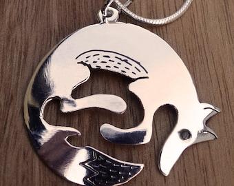 fox necklace, silver fox, woodland necklace, silver fox necklace, animal necklace