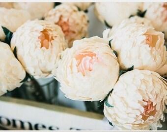 Wedding flowers,wedding bouquet,wedding peonies,paper flower bouquet,ivory peonies 3pcs,paper flowers,bridal flower,peonies bouquet,