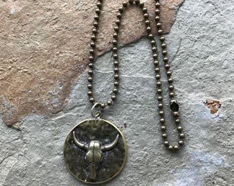 Southwest style buffalo skull pendant necklace