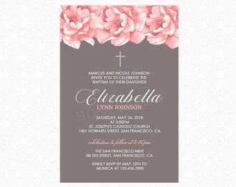 Baptism Invitation Girl, Watercolor Pink Peonies, Printable Baptism Invitation, Printed Shipped Baptism Invitations