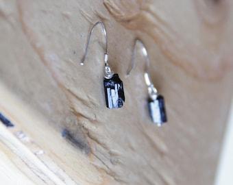 GENUINE raw Pretty Stainless Steel Black dangle Tourmaline earrings Healing Crystal Natural Stone   healing jewelry positive energy