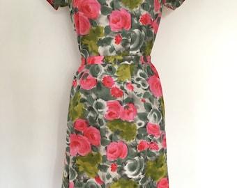 Fabulous Handmade Vintage 1950's Floral Print Day Dress