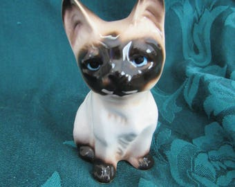 Vintage Seal Point Siamese Cat  Figurine, Made In Japan