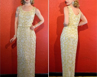 1950s 60s Ivory Sequin Gown with Belt Small/Medium