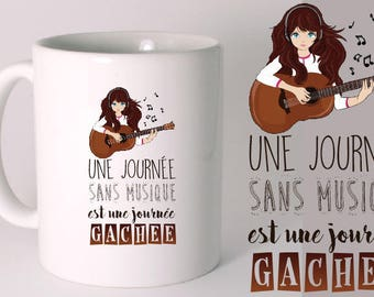 """MUG CERAMIC """"A DAY WITHOUT MUSIC IS A DAY WASTED"""""""