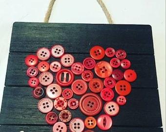 Button Love Plaque