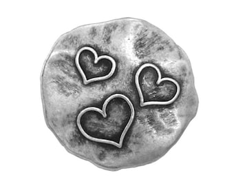 2 Three Hearts 1 inch ( 26 mm ) Metal Buttons Silver Color