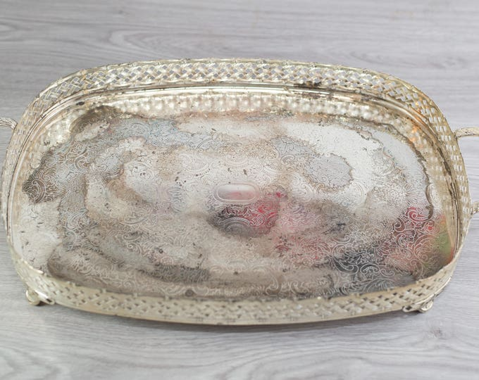 Vintage Silver Plated Tray / Breakfast in Bed Platter