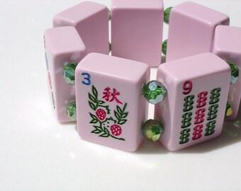Mah Jongg Bracelet / Pink / Pastel / Mah Jong Bracelet / Ma Jong / Mahjongg / Majongg / Bracelet / Pink and Green / Chunky / Fun / MED
