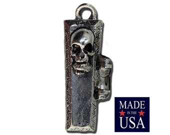 Silver Plated Skull Coffin With Opening Lid Charm 25x7mm (1) gyb002A